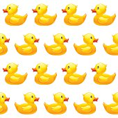 Seamless pattern with yellow rubber duck on white background