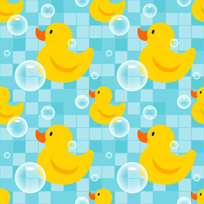 Seamless pattern with yellow rubber ducks.