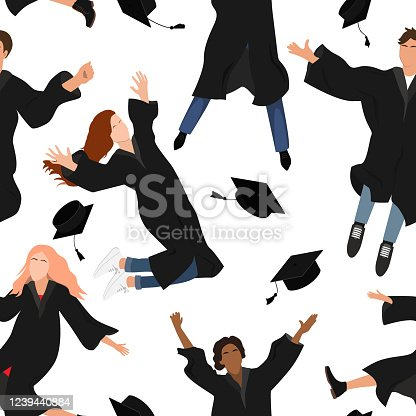 istock Seamless pattern with young graduate students in graduation clothing jumping and throwing the mortarboard high into the air. Flat vector illustration isolated on white 1239440884
