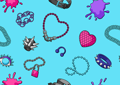 Seamless pattern with youth subculture symbols. Teenage creative illustration. Fashion necklaces in cartoon style.
