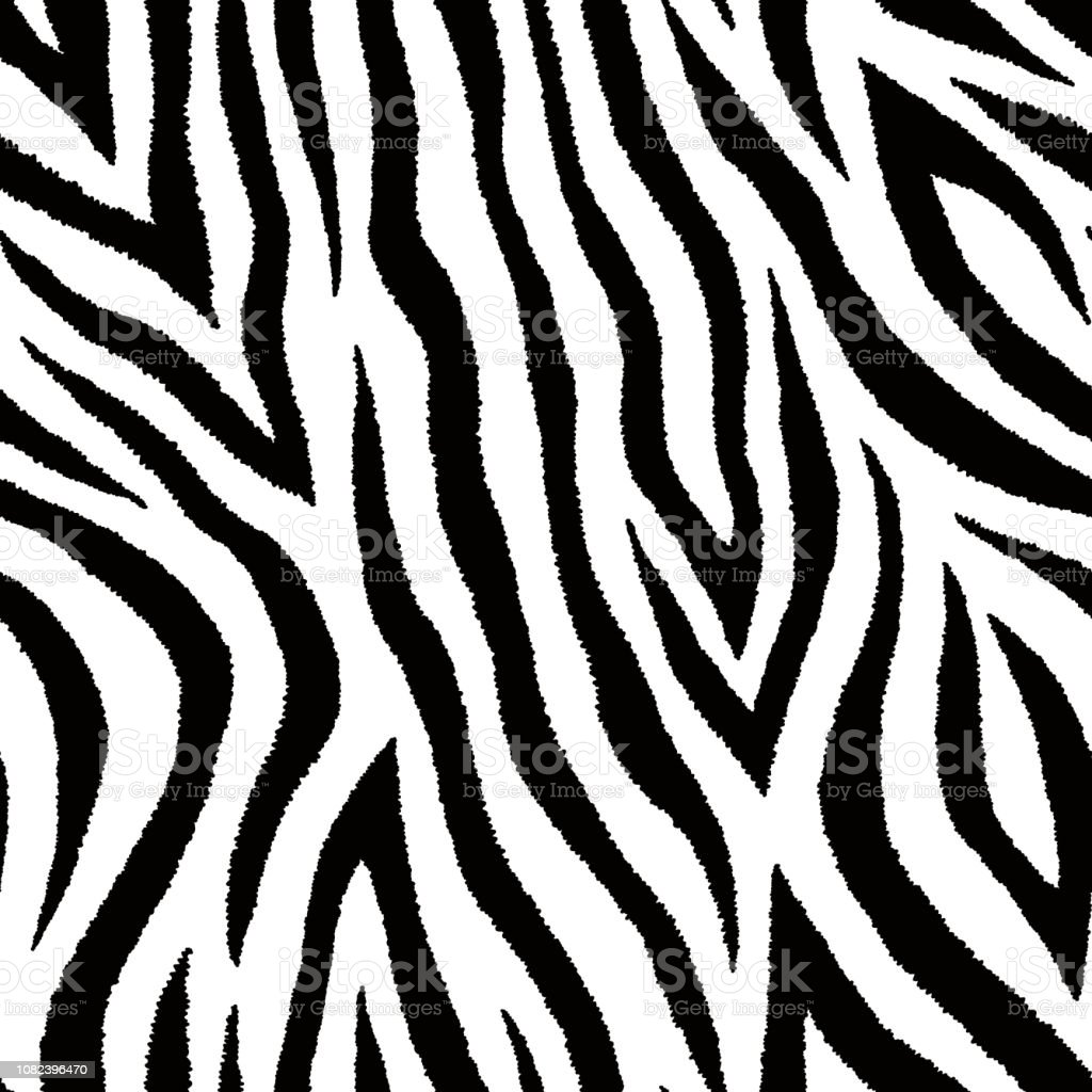 Seamless pattern with zebra fur print. Vector wallpaper. Animal skin texture. - Illustration .