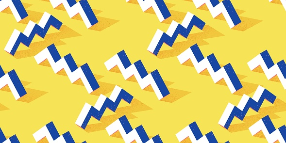 Seamless pattern with zigzag or steps shape on yellow background in modern dotted texture style