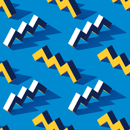 Seamless pattern with zigzag or torus shape on blue background in modern dotted texture style