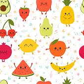 Seamless pattern wiyh dancing fruits. Cute hand drawn kawaii fruits. Healthy style collection. Flat style. Vegetarian food. Cartoon party. Vector illustration