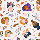 Seamless pattern - women of different nationalities and religions, International women day, girl protest. Cute and funny girls characters. Feminism fabric design. Vector illustration.