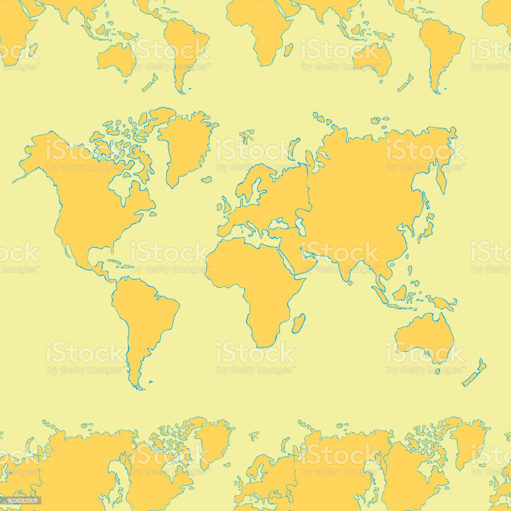 Picture of: Seamless Pattern World Map Continents And Countries Vector Illustration Stock Illustration Download Image Now Istock