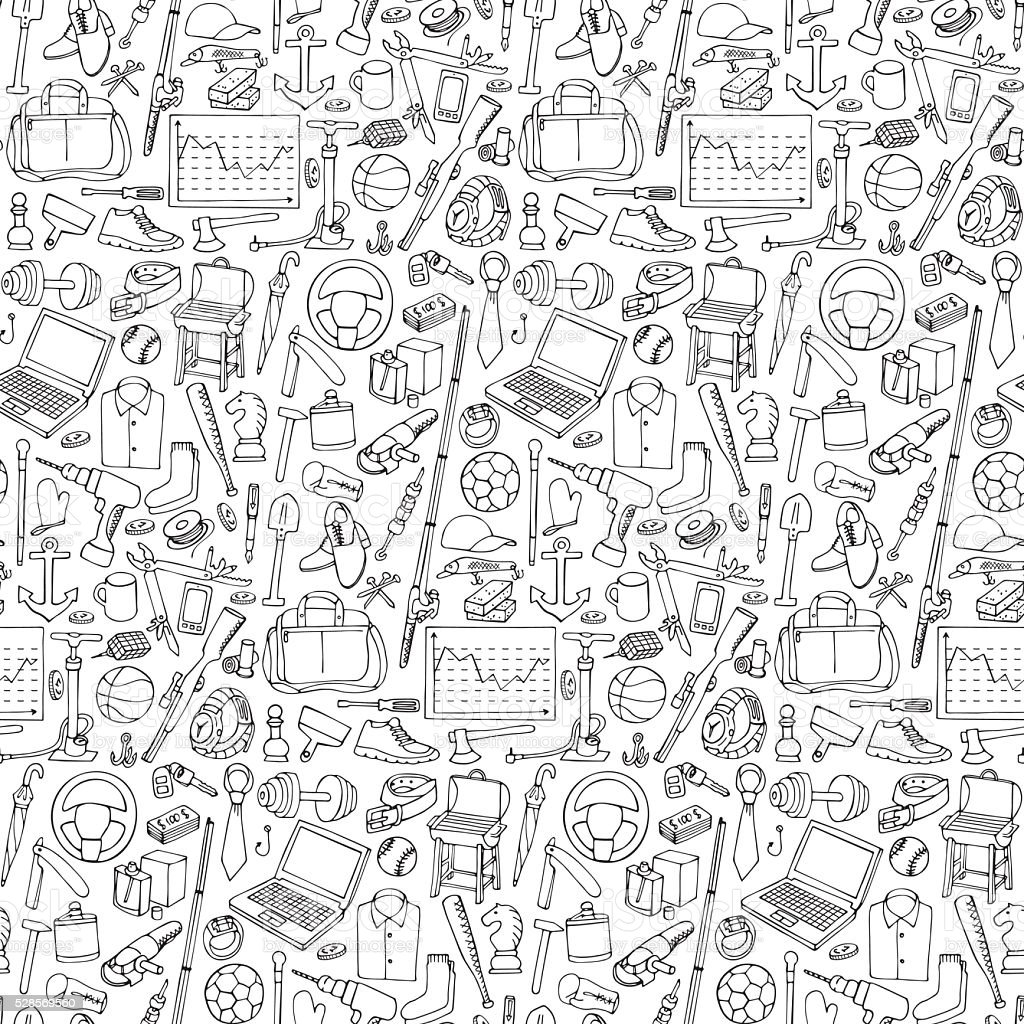 Seamless pattern woth Man Objects vector art illustration