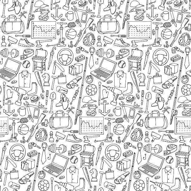 Seamless pattern woth Man Objects Seamless pattern with of mans hobby,  tools and objects hobbies stock illustrations