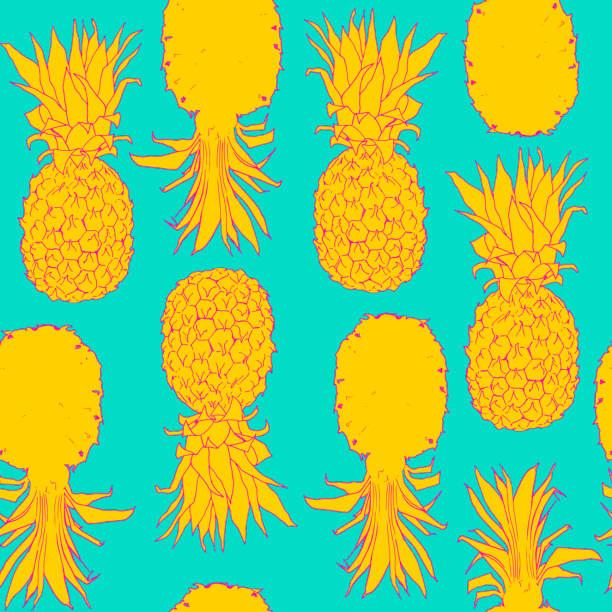 illustrazioni stock, clip art, cartoni animati e icone di tendenza di seamless pattern yellow pineapple on turquoise background - ananas