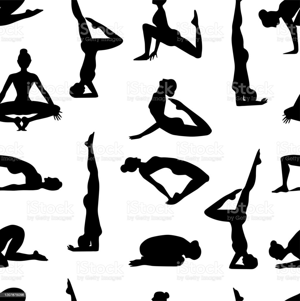 Seamless Pattern Yoga Poses As Seamless Background Background With Women In  Black And White Colors Black And White Seamless Background With Girls In