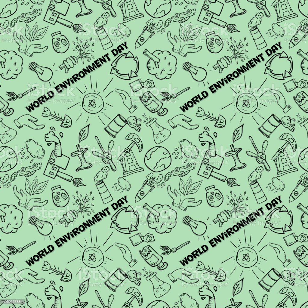 pattern_3_contour perfecta de elementos para diseñar diversos objetos de las actividades humanas el tema para el día mundial del medio ambiente, el fondo está aislado - arte vectorial de Coche libre de derechos