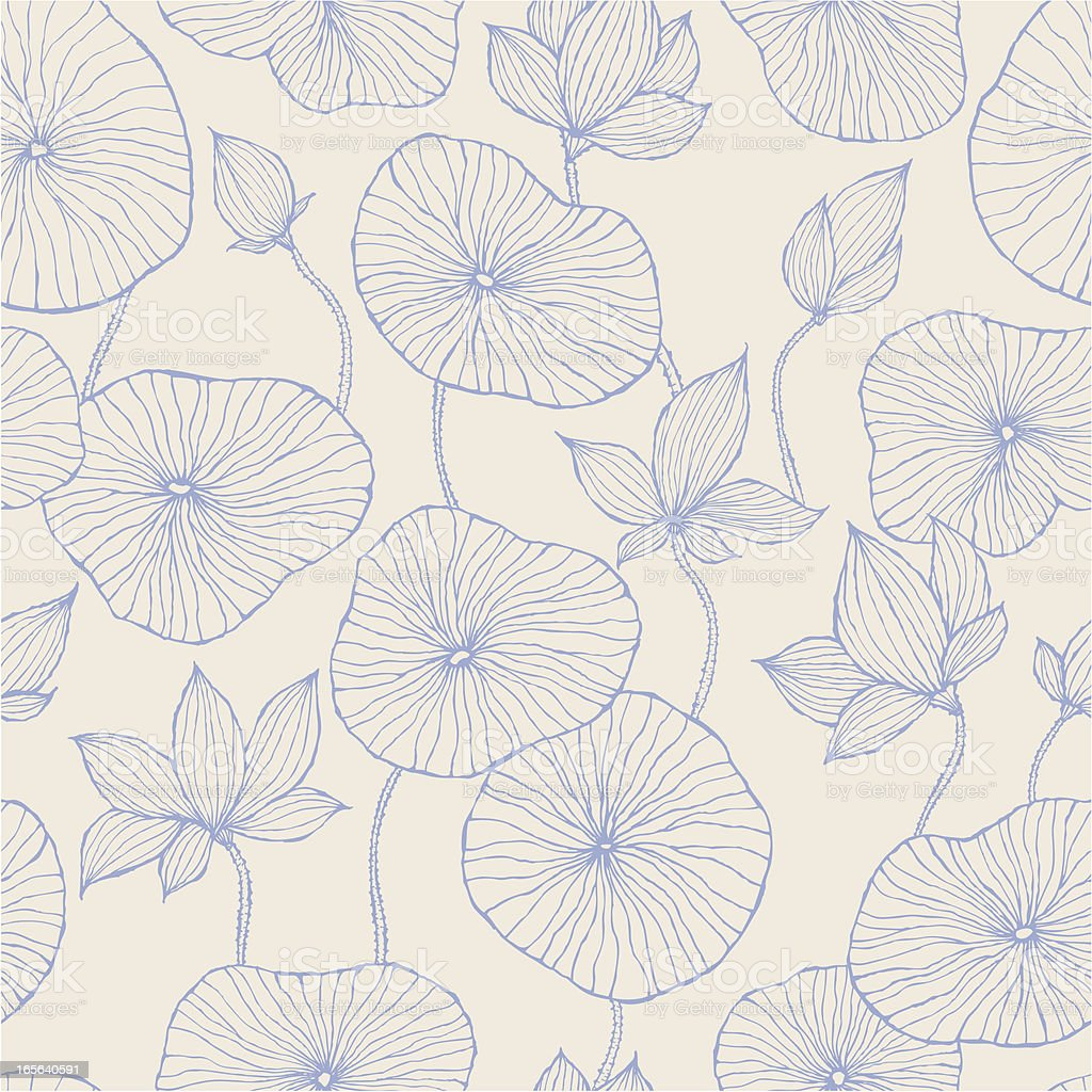 Seamless Pattern—Blue Lotus vector art illustration