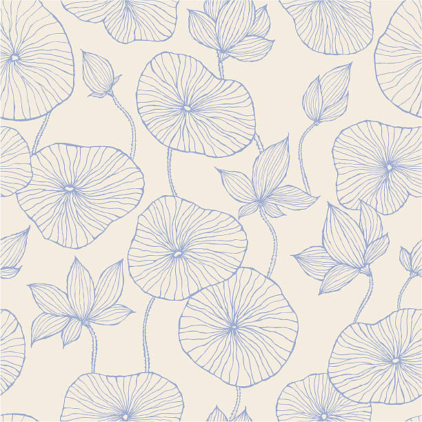 Seamless Pattern—Blue Lotus Hand drawn style Paisley pattern. Two colours used only. water lily stock illustrations