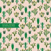 Seamless Pattern,Natural Pattern,Cactus Plant,Desert Background