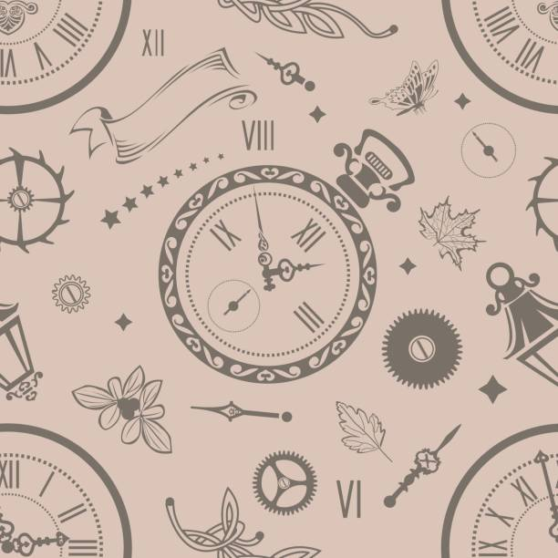Seamless patterns Clock vector art illustration