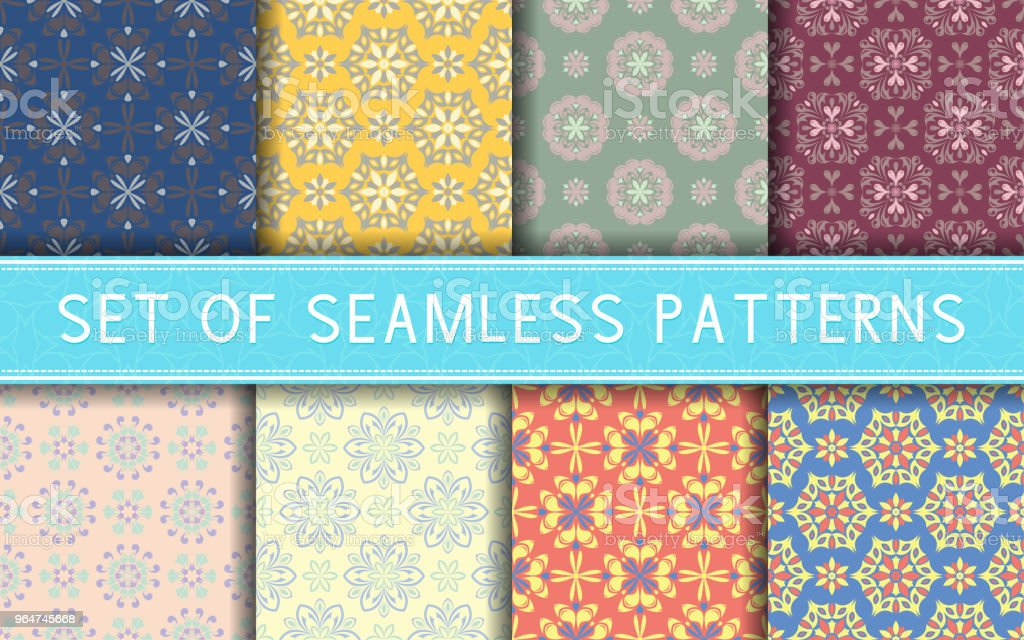 Seamless patterns. Collection of colored floral backgrounds royalty-free seamless patterns collection of colored floral backgrounds stock vector art & more images of abstract