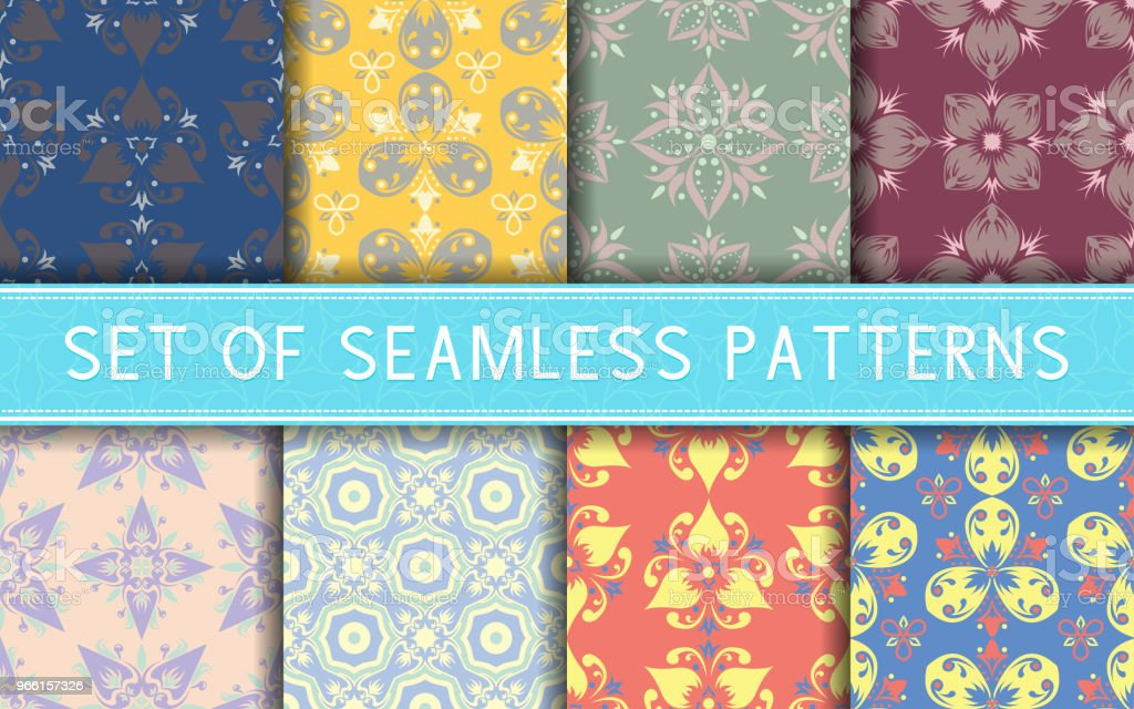 Seamless patterns. Collection of colored floral backgrounds - Royalty-free Abstract stock vector
