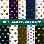 Vector illustration 10 color polka dots seamless patterns.