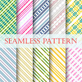 Vector illustration 10 color striped seamless patterns.