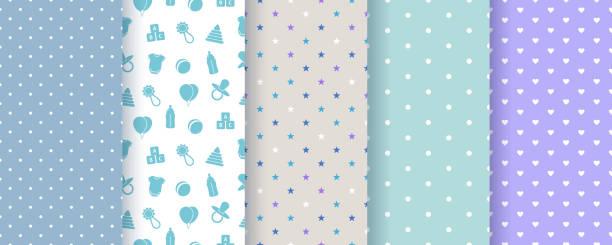 stockillustraties, clipart, cartoons en iconen met naadloze patronen voor babyjongen. vectorillustratie. - background baby