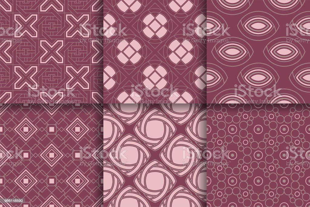 Seamless mönster från geometriska former. Uppsättning färgade bakgrunder - Royaltyfri Abstrakt vektorgrafik