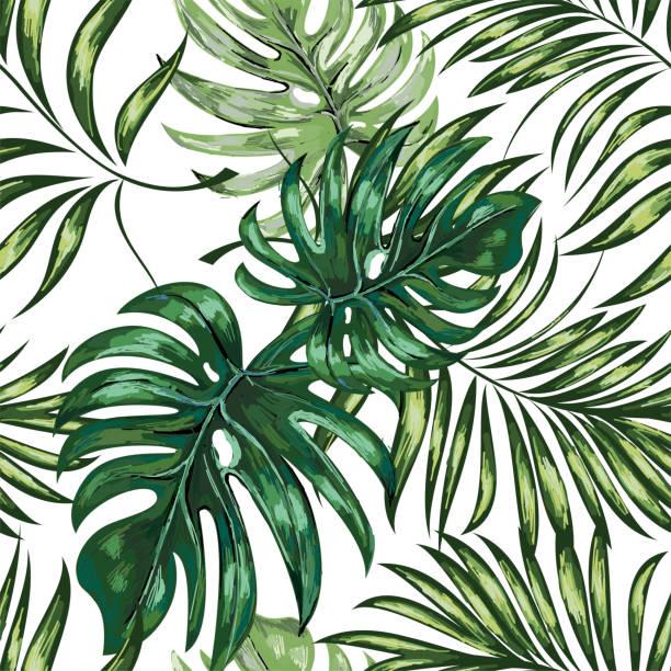 Nahtlose Muster aus Palmwedeln, verlässt Dschungel. Handzeichnung. – Vektorgrafik