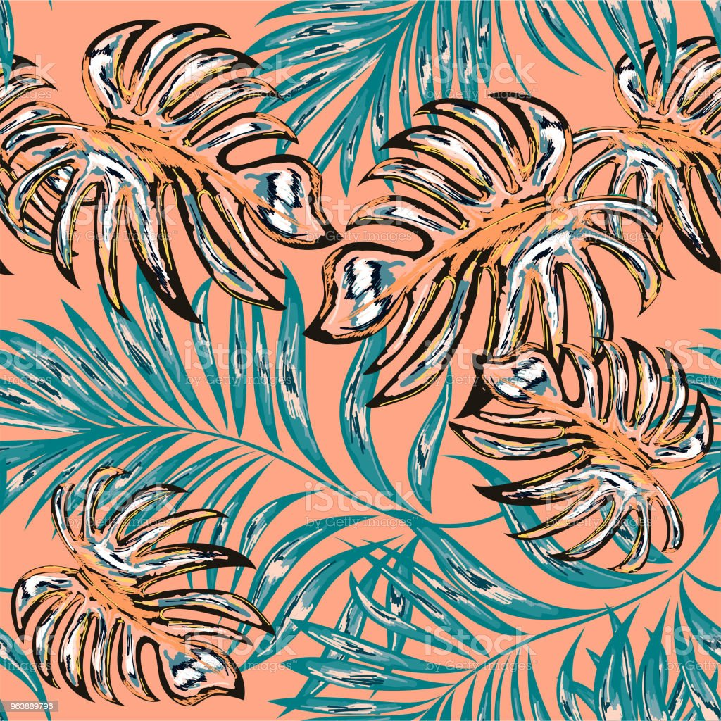 Seamless patterns from palm fronds, jungle leaves. Hand drawing. - Royalty-free Art stock vector