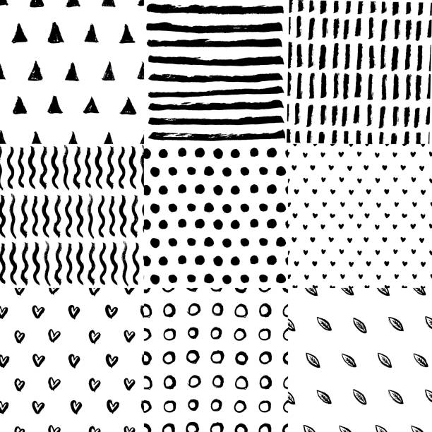 Seamless patterns hand drawn vector Set of black and white seamless patterns with ink hand drawn brushes, stripes, waves, polka dot, leafs, hearts. Vector backgrounds in minimalist monochrome scandianvian design illustration. fabric swatch stock illustrations