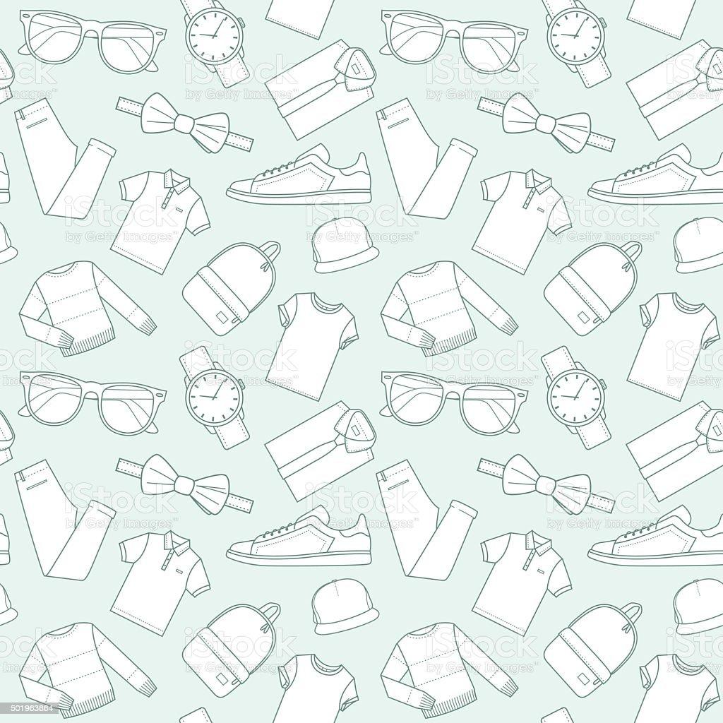 Ilustración de Patrones De Macho De Ropa Y Accesorios Para La Tienda ...