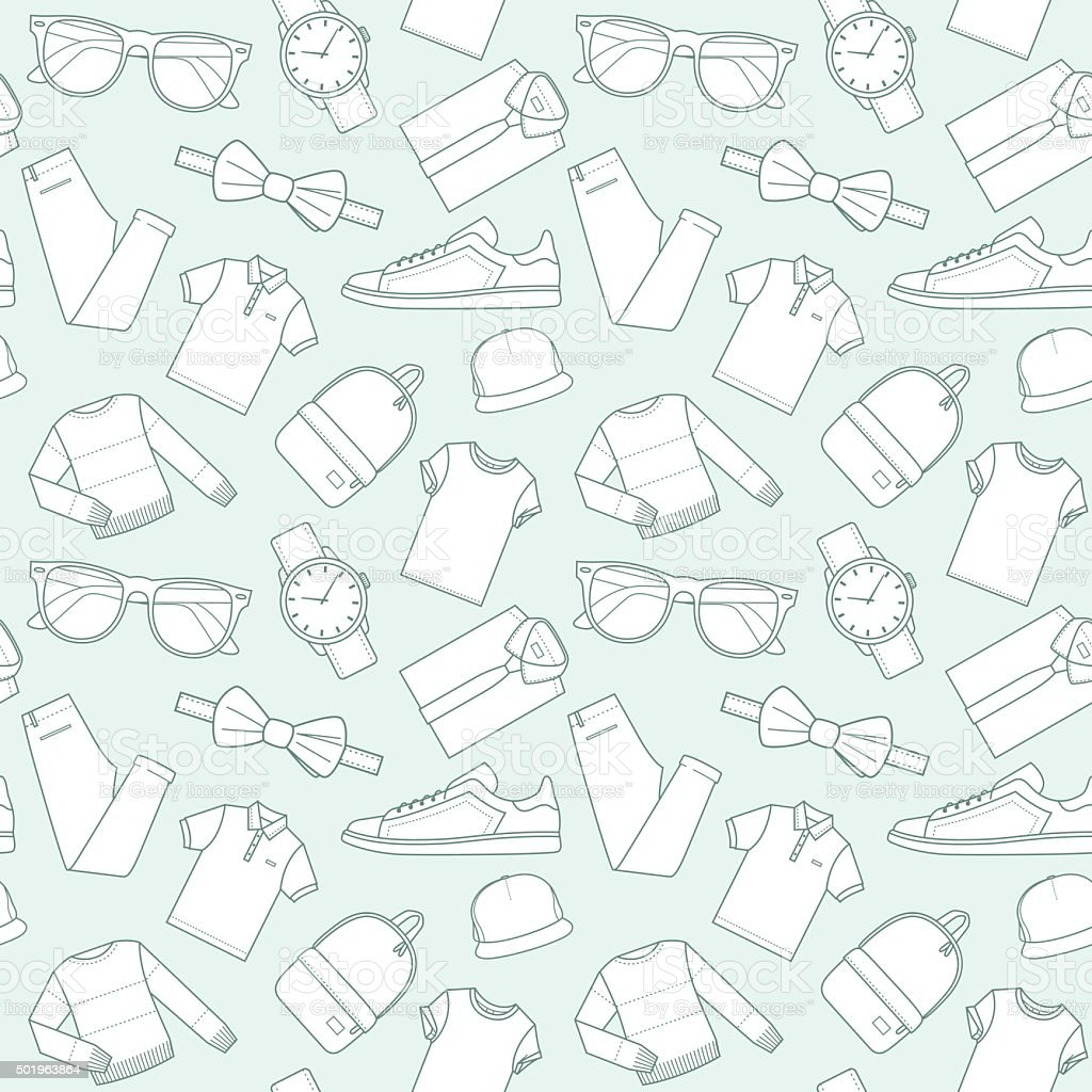 Seamless patterns of male clothes and accessories for online store. vector art illustration