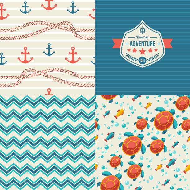 Seamless patterns of marine symbols and label in vintage style. vector art illustration