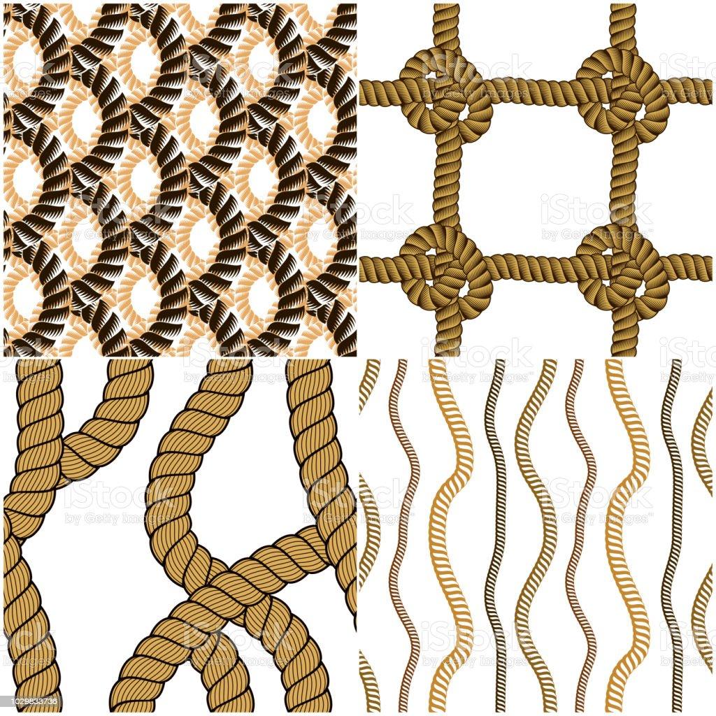 Ilustración de Vectores De Cuerda Tejida Sin Costura Patrones ...
