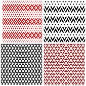 Seamless patterns set. Abstract geometric textures. Vector art.