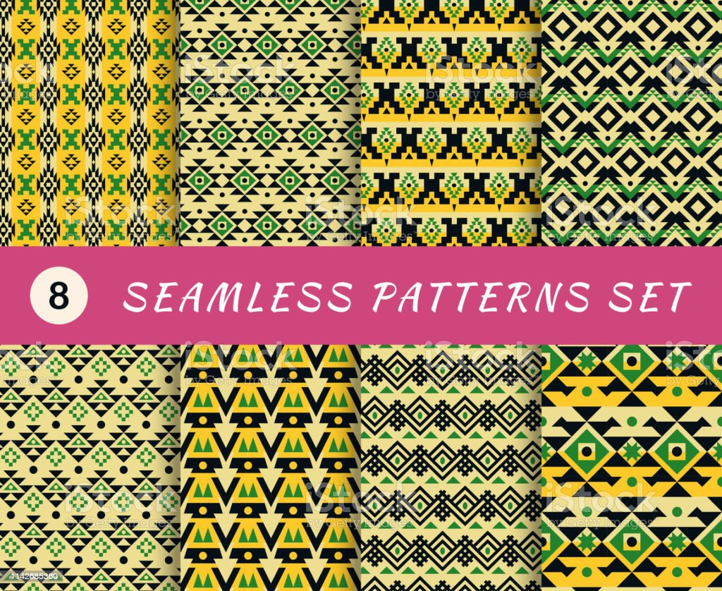 Seamless Patterns Set With Endless Mexican Or Aztec Tribal Geometric