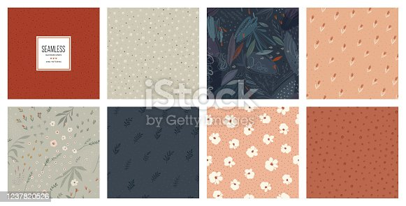 Trendy seamless patterns set. Cool abstract design. For fashion fabrics, kid's clothes, home decor, quilting, T-shirts, backgrounds, cards and templates, scrapbooking etc.