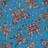 Seamless patterns with butterflies. Various  and flowers on white background.