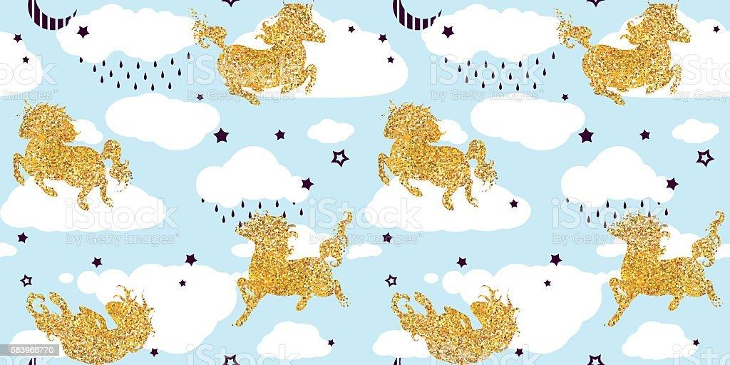 Seamless Patterns With Cute Baby Unicorns Lizenzfreies Vektor Illustration