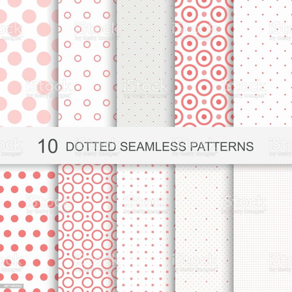 Seamless patterns with dots vector art illustration