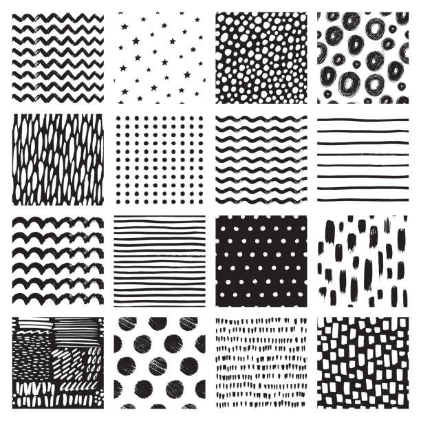 seamless patterns with hand drawn scribble and spot. black and white abstract background. vector texture. - monochrom stock illustrations