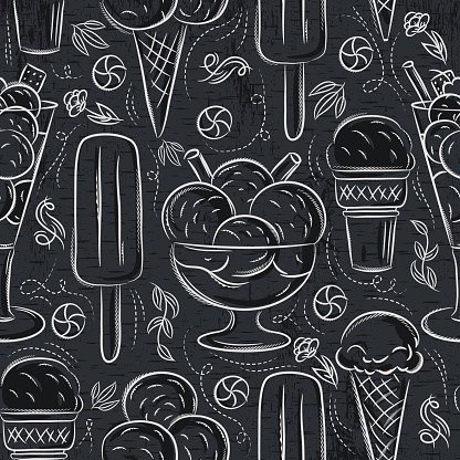 Seamless Patterns with ice cream on grunge blackboard. Ideal for printing onto fabric and paper or scrap booking.