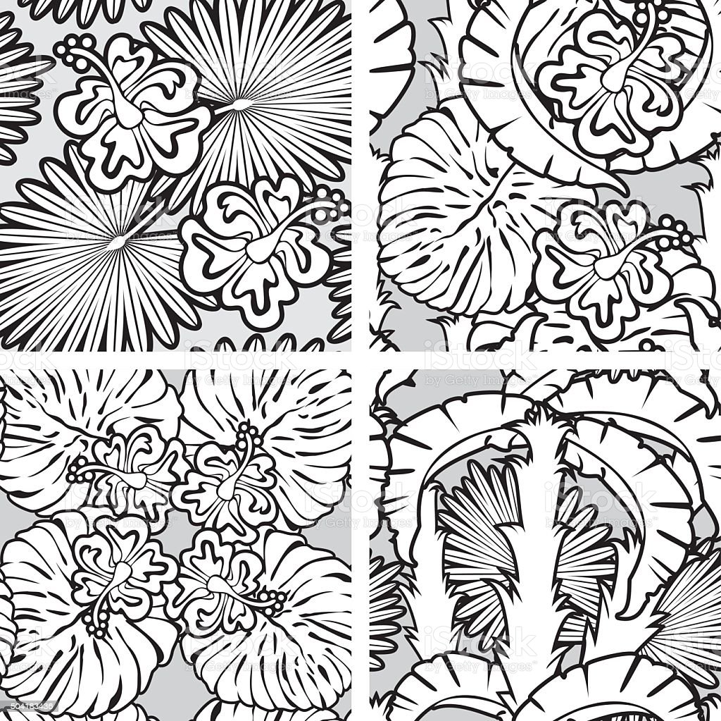 seamless patterns with palm trees leaves and frangipani flowers