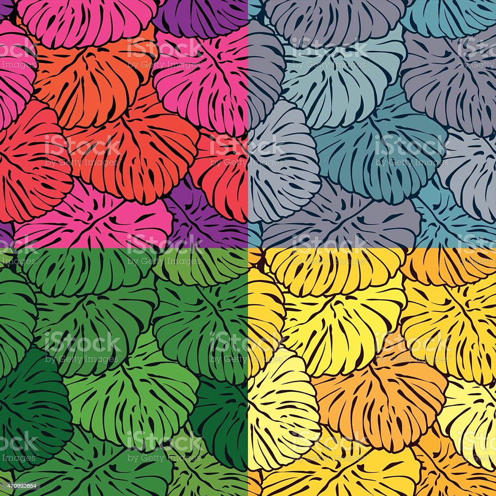 Seamless Patterns With Palm Trees Leaves In Different Colors stock ...