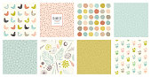Creative seamless patterns and prints set.  For fashion kid's wear, T-shirts, posters, cards, scrapbooking, birthday and party invitations. Vector illustration.