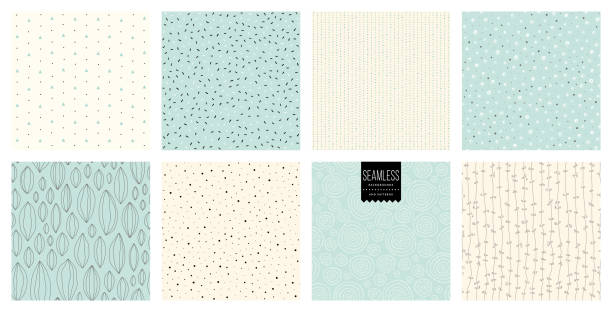 Seamless Patterns_02 Set of abstract square backgrounds and sketch dots textures. Vector illustration. natural pattern stock illustrations