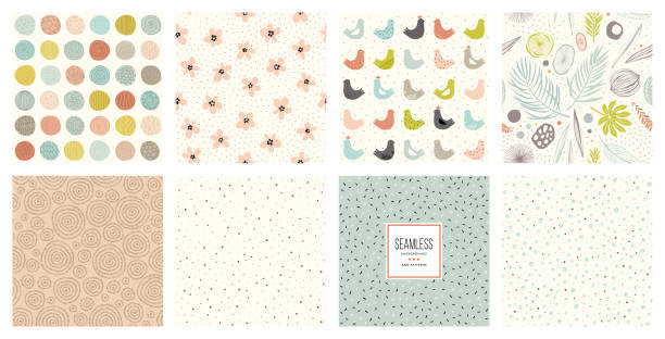 Seamless Patterns_03 Cute seamless patterns and prints set.  For fashion kid's wear, T-shirts, posters, cards, scrapbooking, birthday and party invitations. natural pattern stock illustrations
