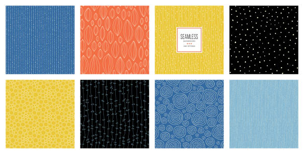 Seamless Patterns_04 Set of abstract square backgrounds and sketch dots textures. Vector illustration. organic stock illustrations