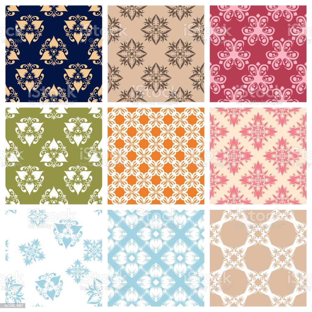 Seamless pattern.Set of Colored floral background seamless patternset of colored floral background - stockowe grafiki wektorowe i więcej obrazów abstrakcja royalty-free