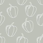 Seamless pattern with bell peppers silhouette on gray background. Vector illustration