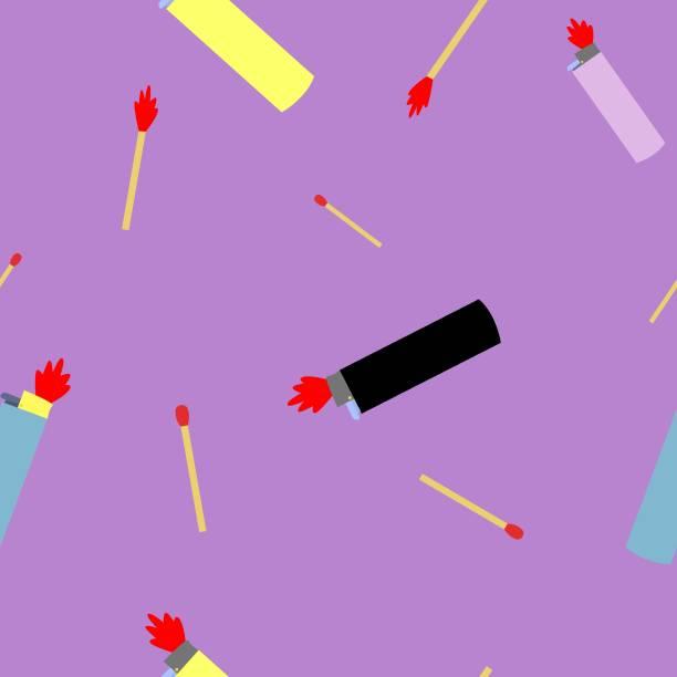 nahtlose pettern von feuerzeugen und holz entspricht vektor-illustration - feuerzeuggas stock-grafiken, -clipart, -cartoons und -symbole