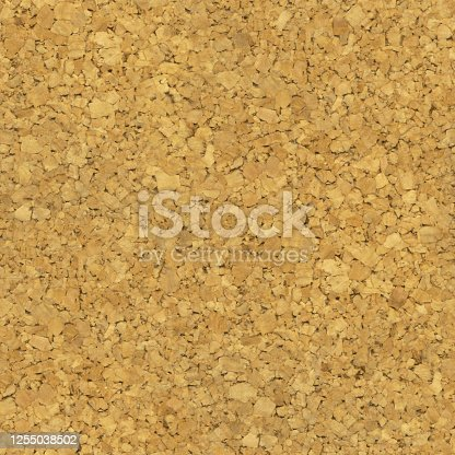 istock Seamless photorealistic cork board pattern - vector illustration in macro with fantastic details - background in shades of beige and brown made of small and big densely and unevenly arranged pieces of cork - material for business brainstorming 1255038502
